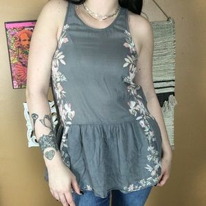 FREE PEOPLE / Grey Floral Blouse